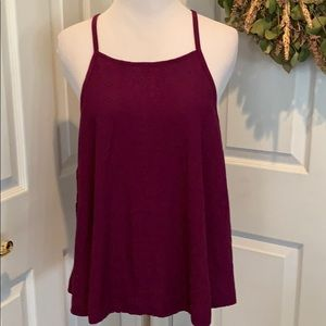 Eggplant colored flowy tank with lace up tie back